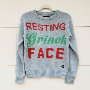 Resting Grinch Face ugly Christmas sweater